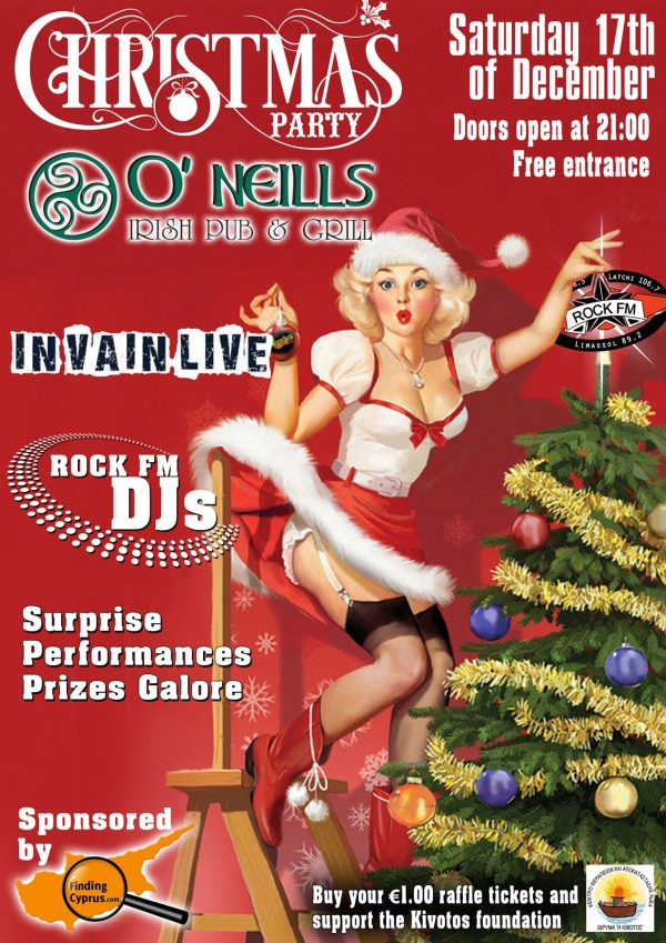 Rick Fm Christmas party ar Oneills Irish bar and Grill in paphos sponsored by Finding Cyprus